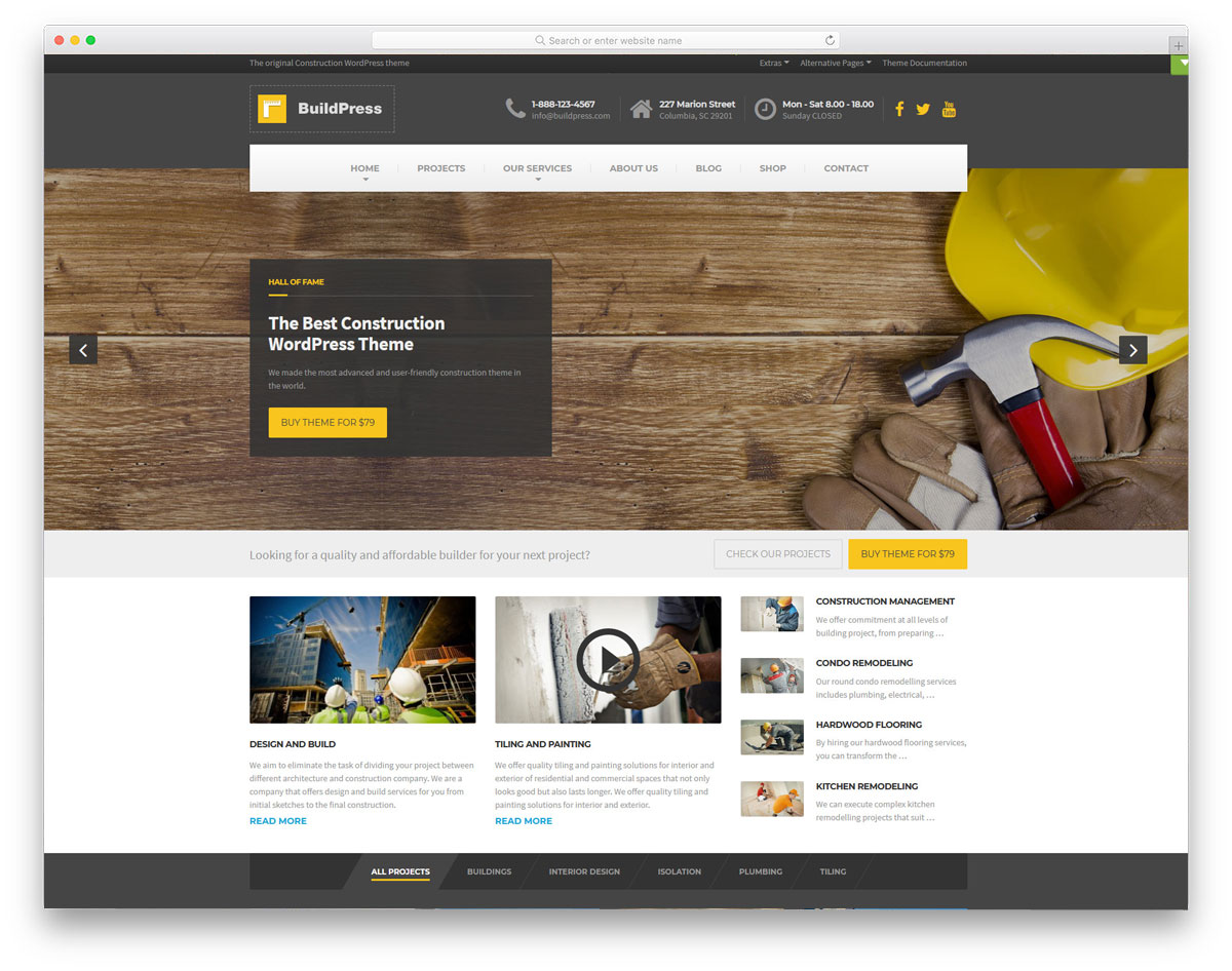 multipurpose wordpress theme for construction related businesses