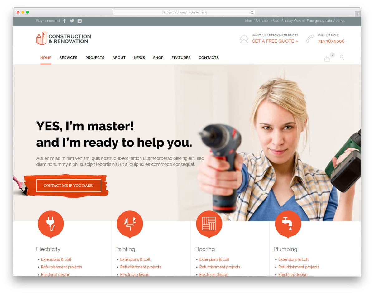 multipurpose construction and home repair service wordpress theme