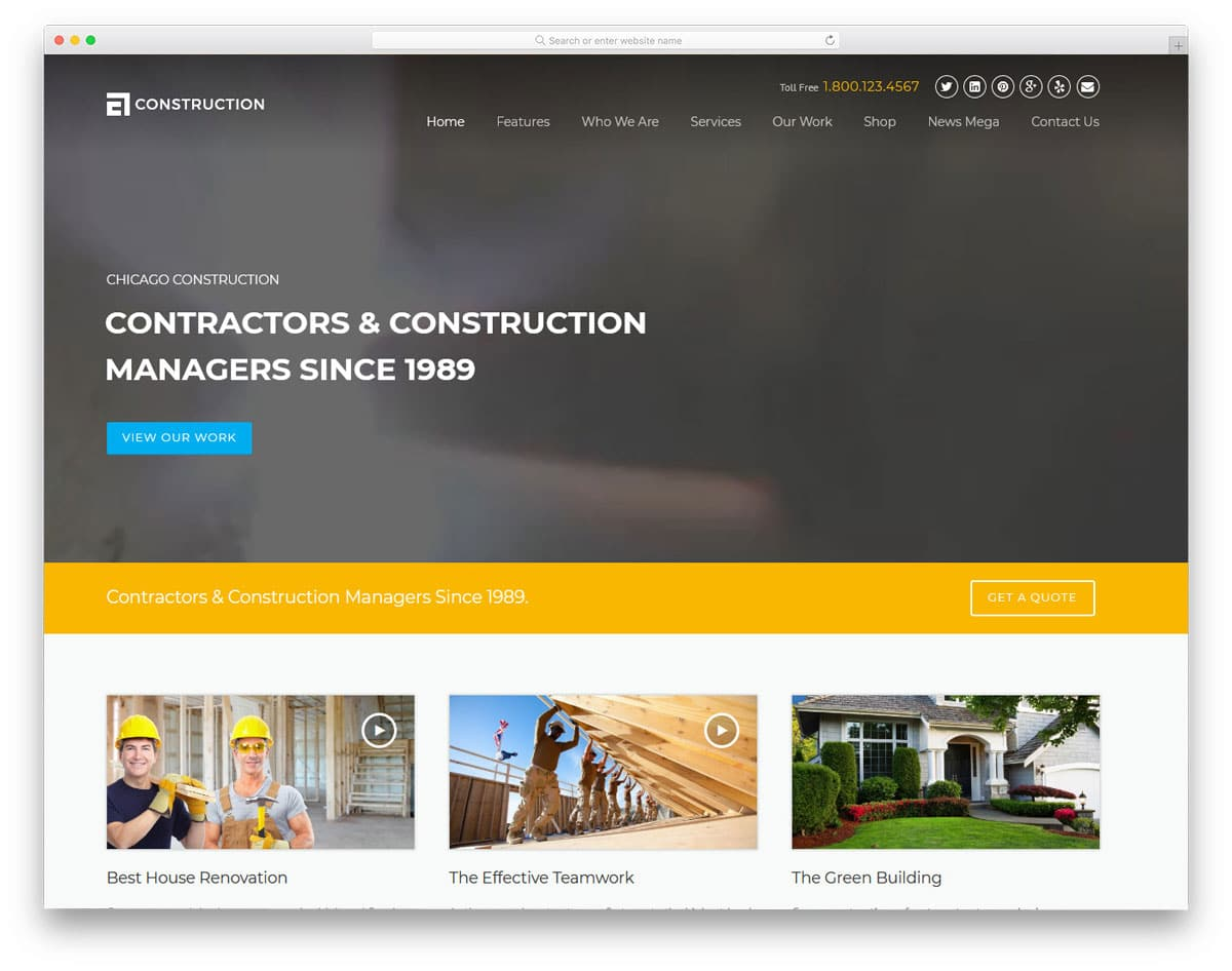 construction wordpress theme with video background