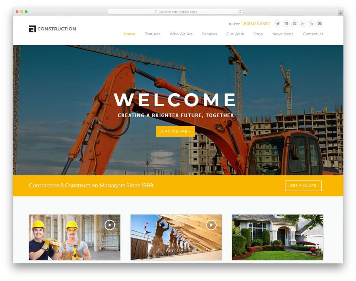 feature-rich construction niche wordpress theme