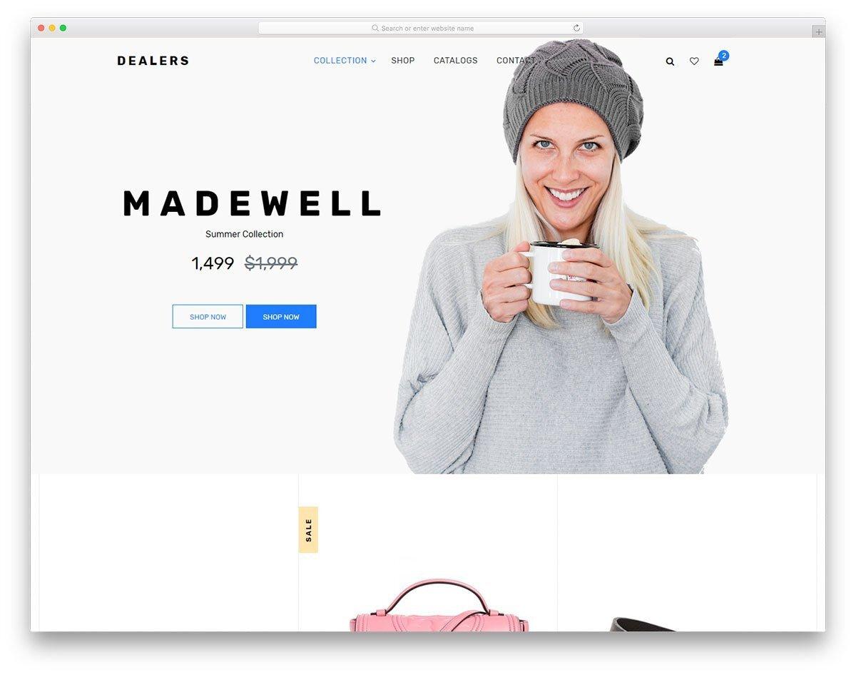 minimal looking brand focused website template