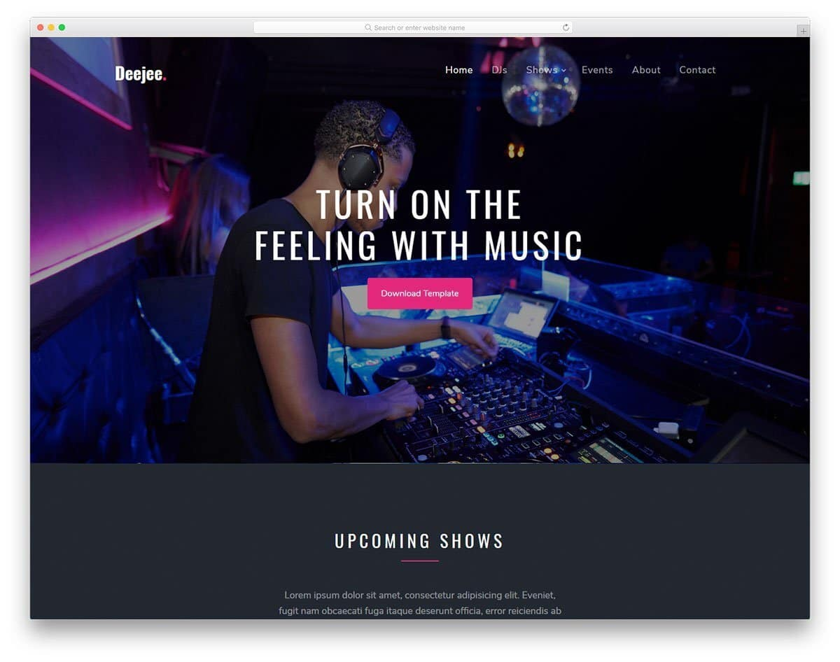 entertainment website template for music and music bands