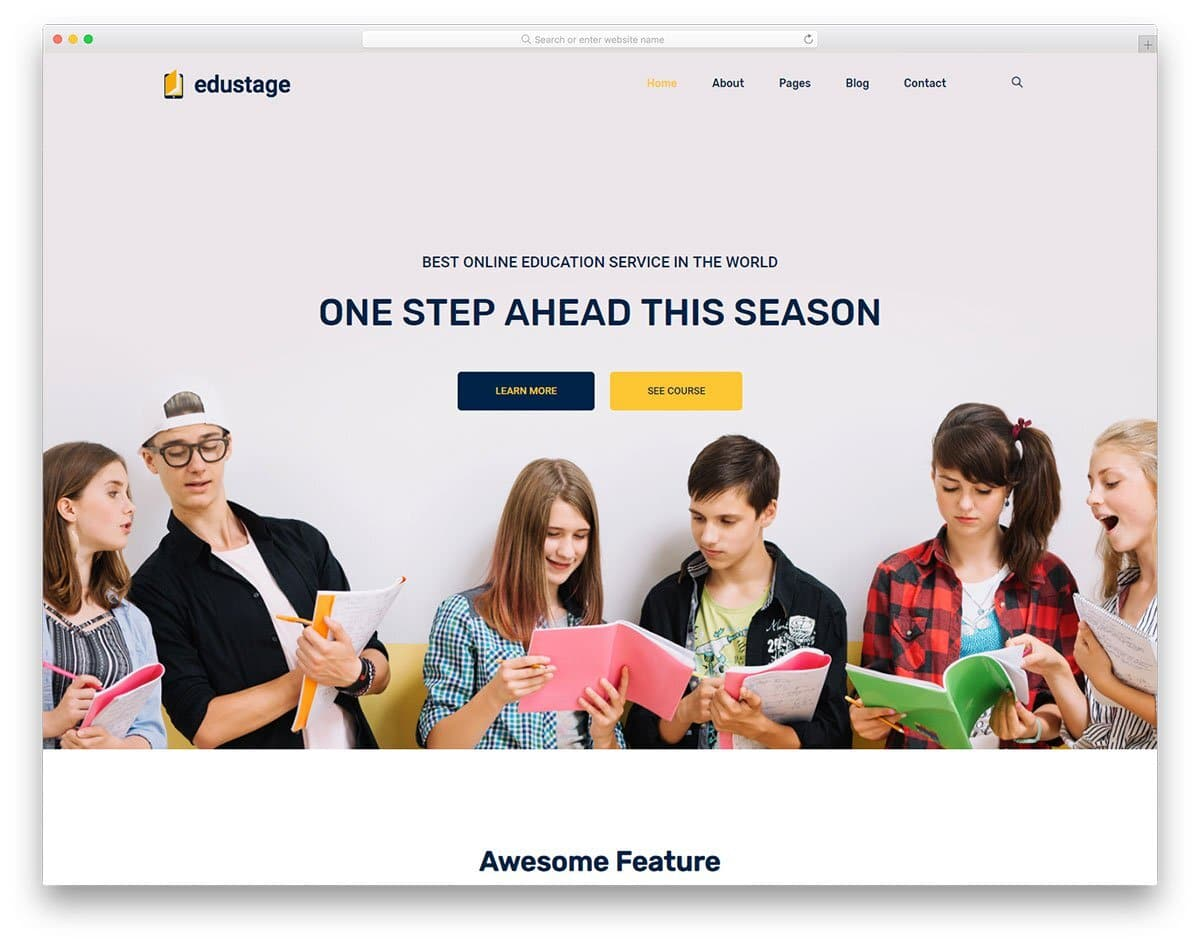 education website template with promotional elements