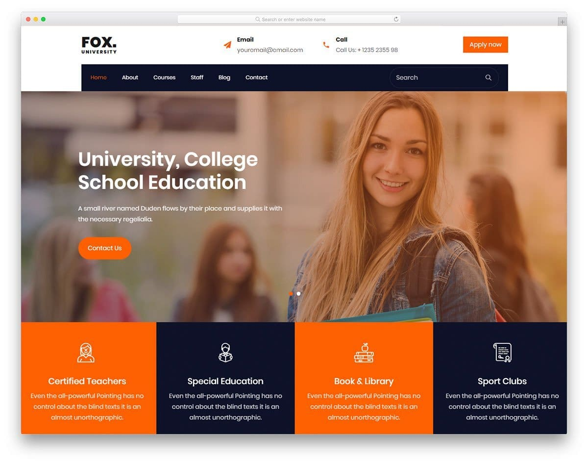modern college website templates for modern users