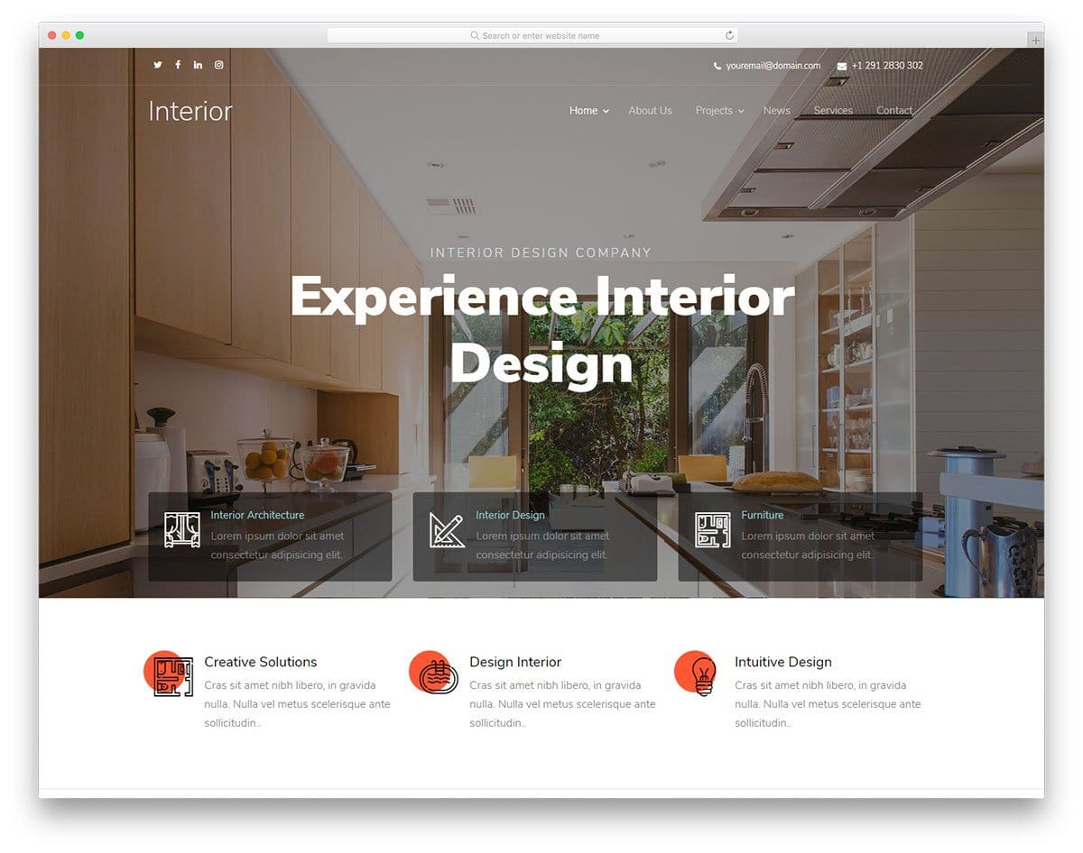 interior design website template with artistic touch