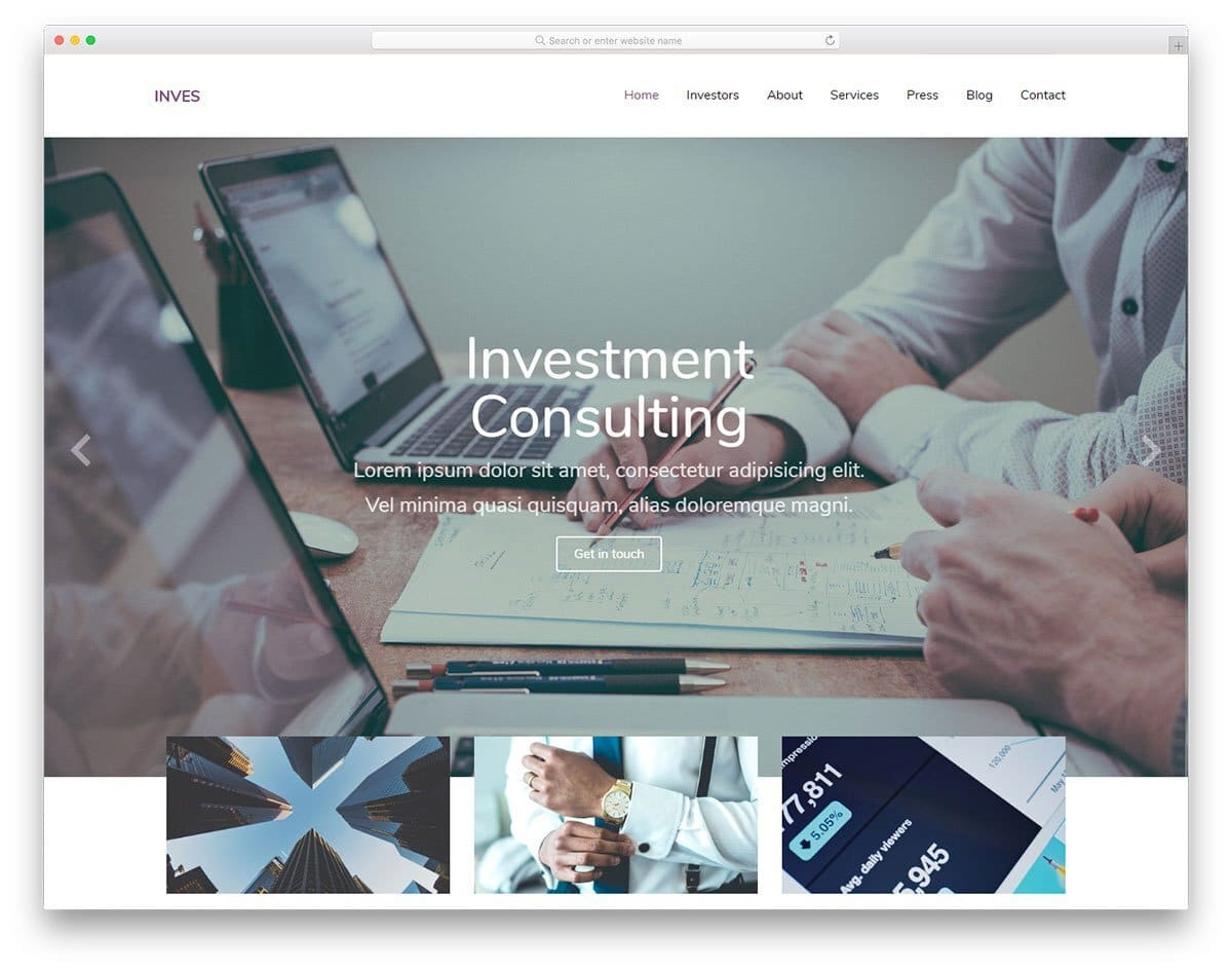 flat style business website template