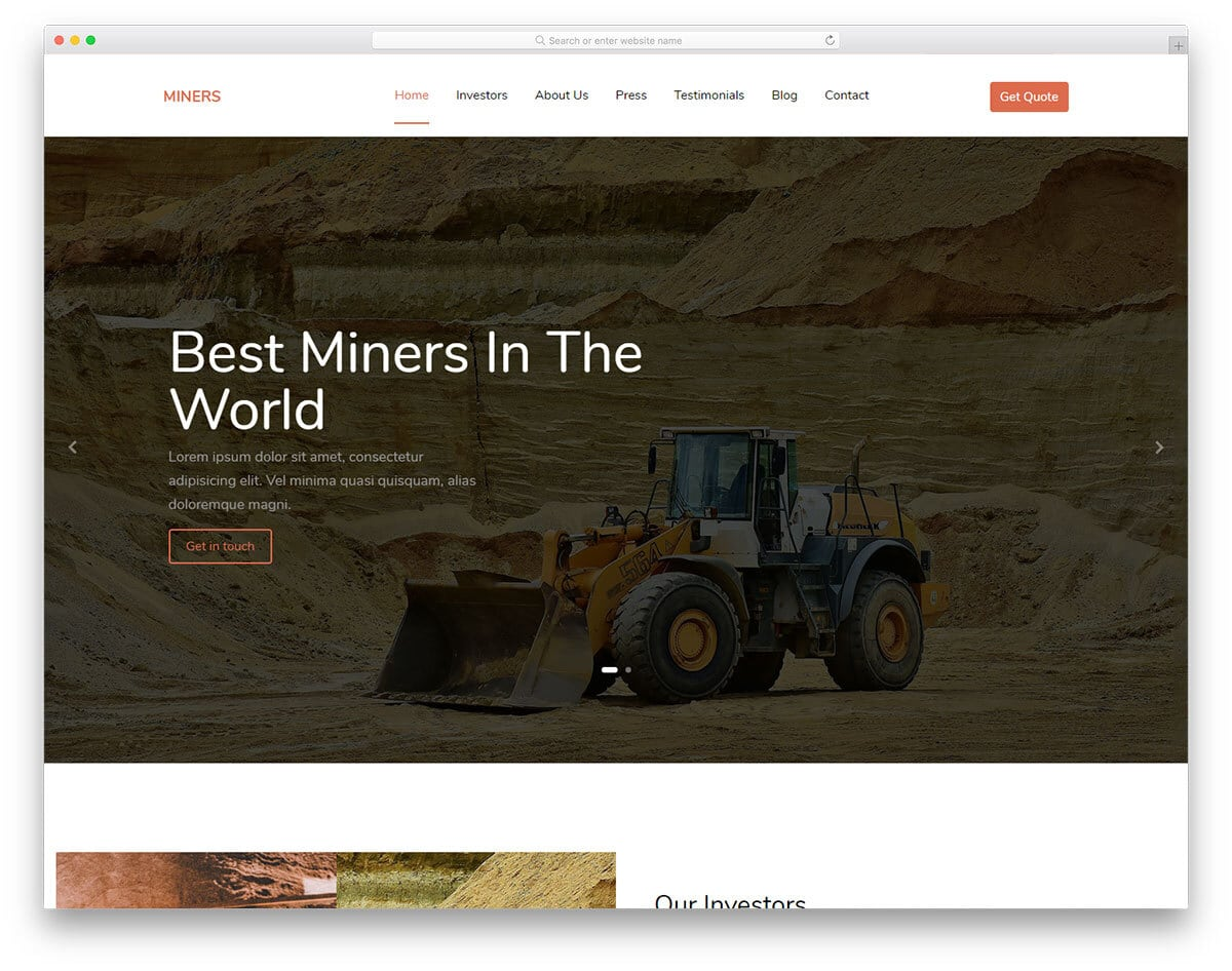 one-page industry website template