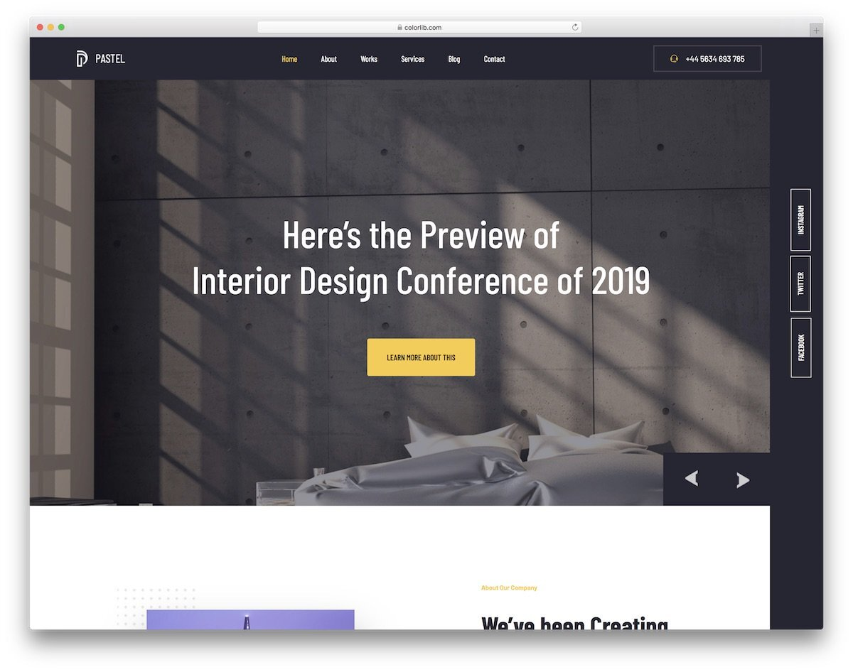 business website template for interior design and furniture businesses