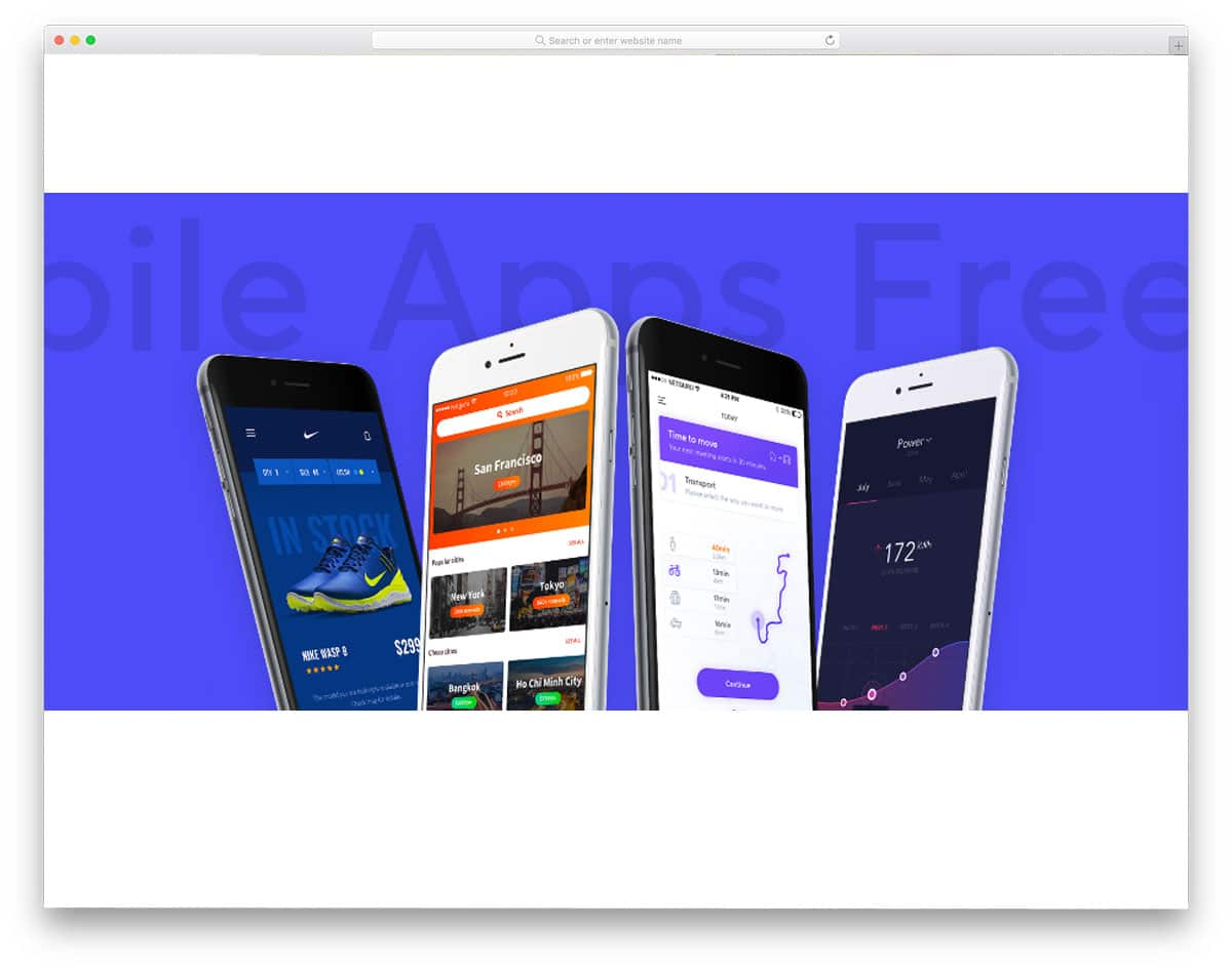 ui kit for four types of mobile applications
