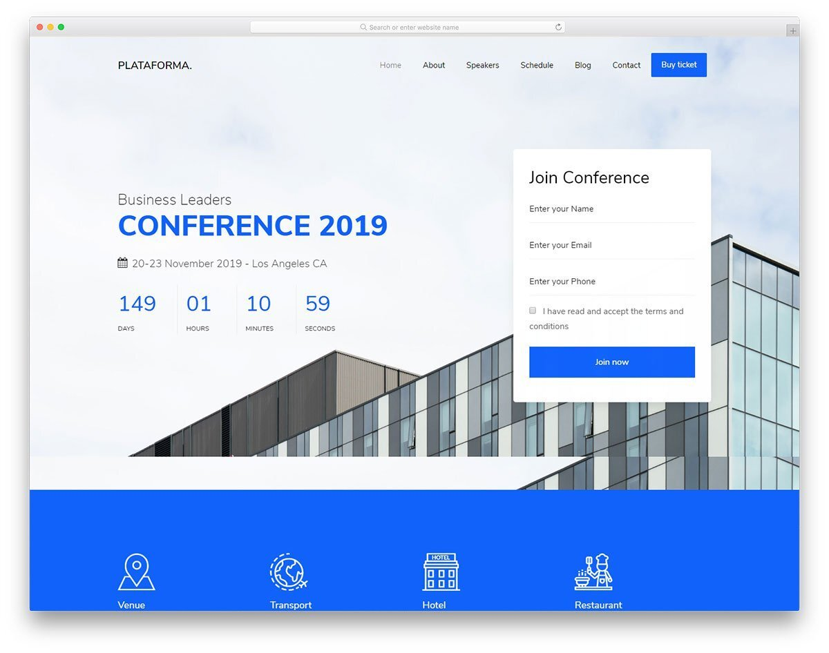 business event website templates