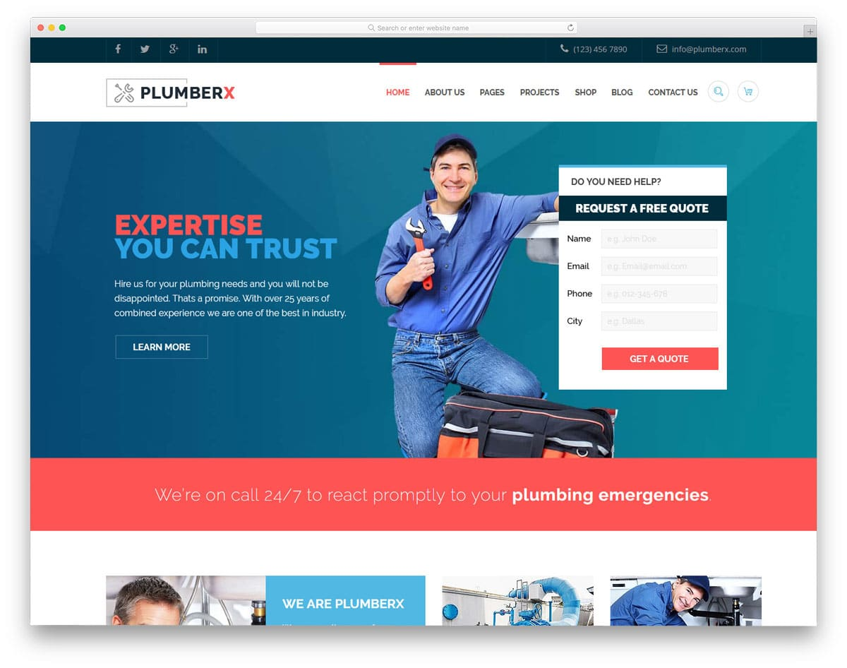 plumber wordpress themes with quote request form