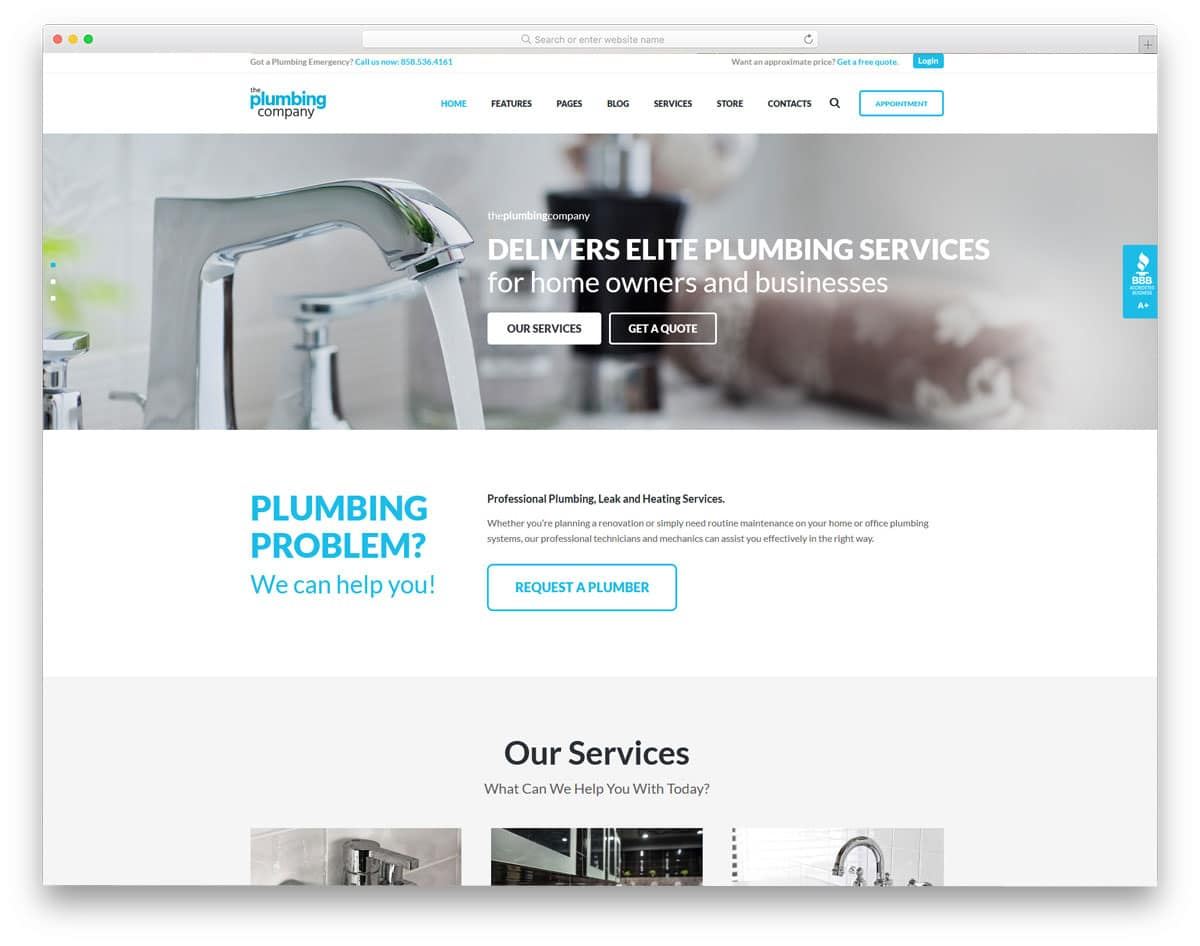 clean and easy to use plumbing WordPress themes