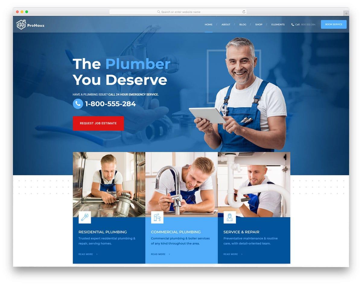modern feature-rich plumber wordpress themes