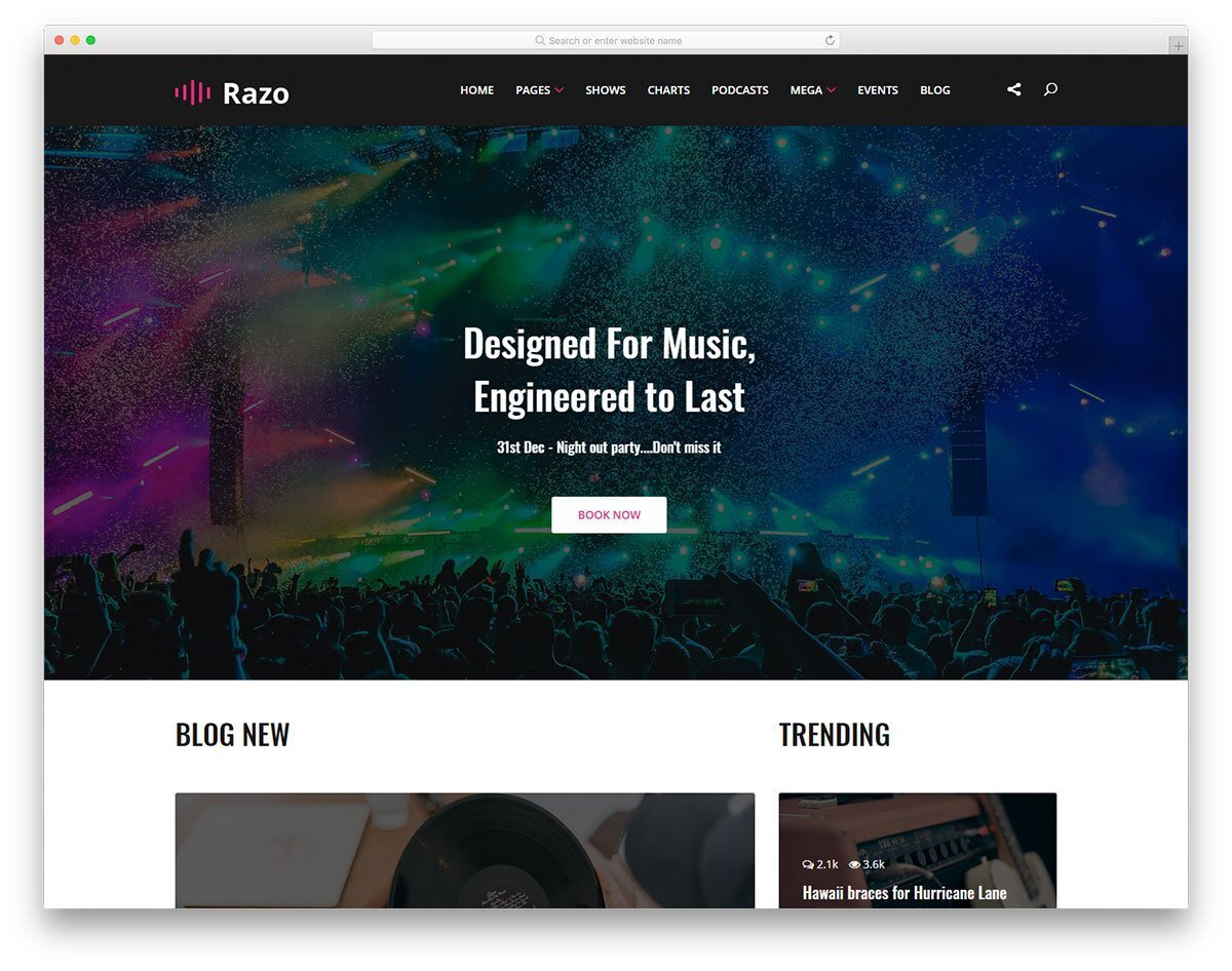 music streaming website template