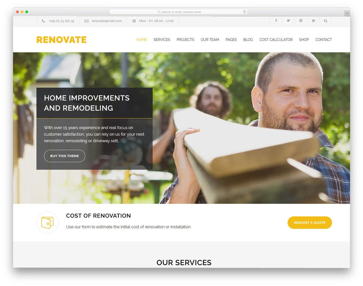 wordpress theme for renovation and house repair services