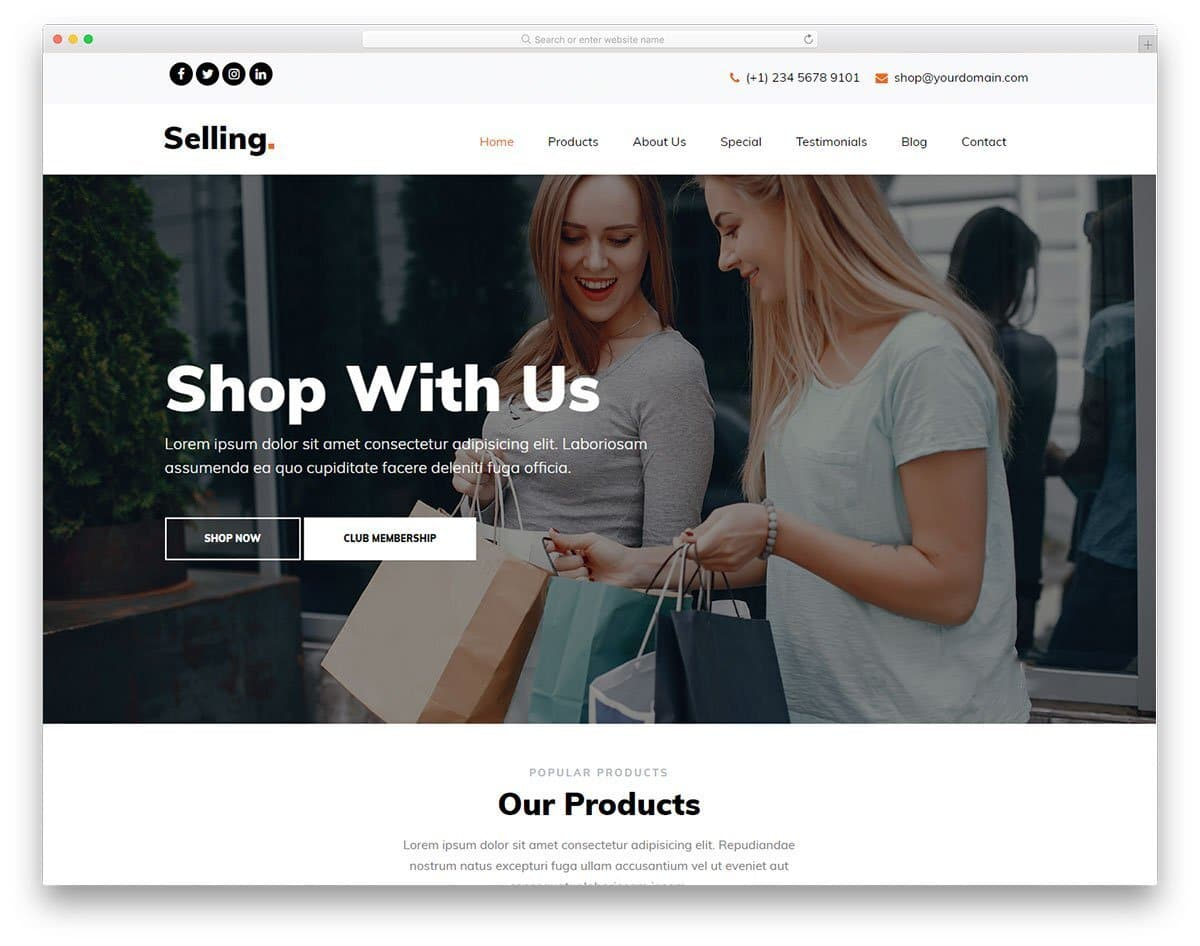 easy to maintain free boutique website templates
