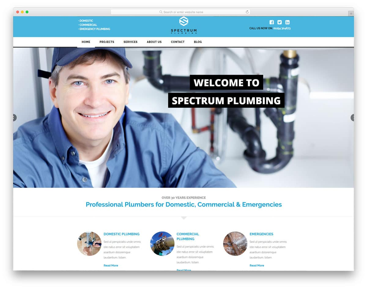 clean classic looking plumber wordpress themes