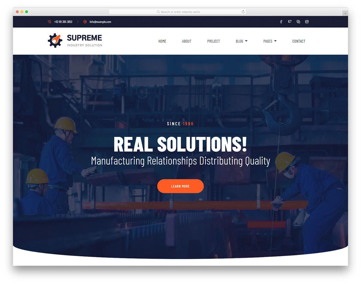 free industrial website template with useful features
