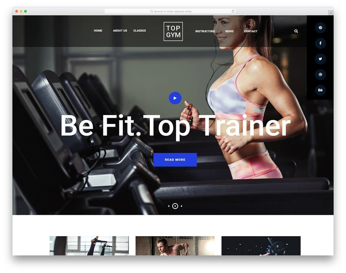 fitness website template with dark and trendy color scheme