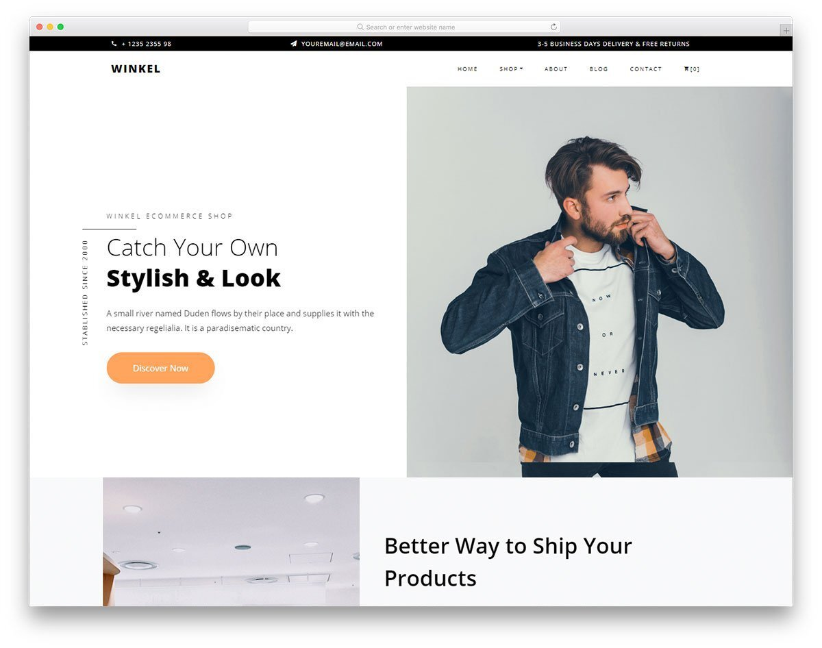 trendy looking free boutique website templates