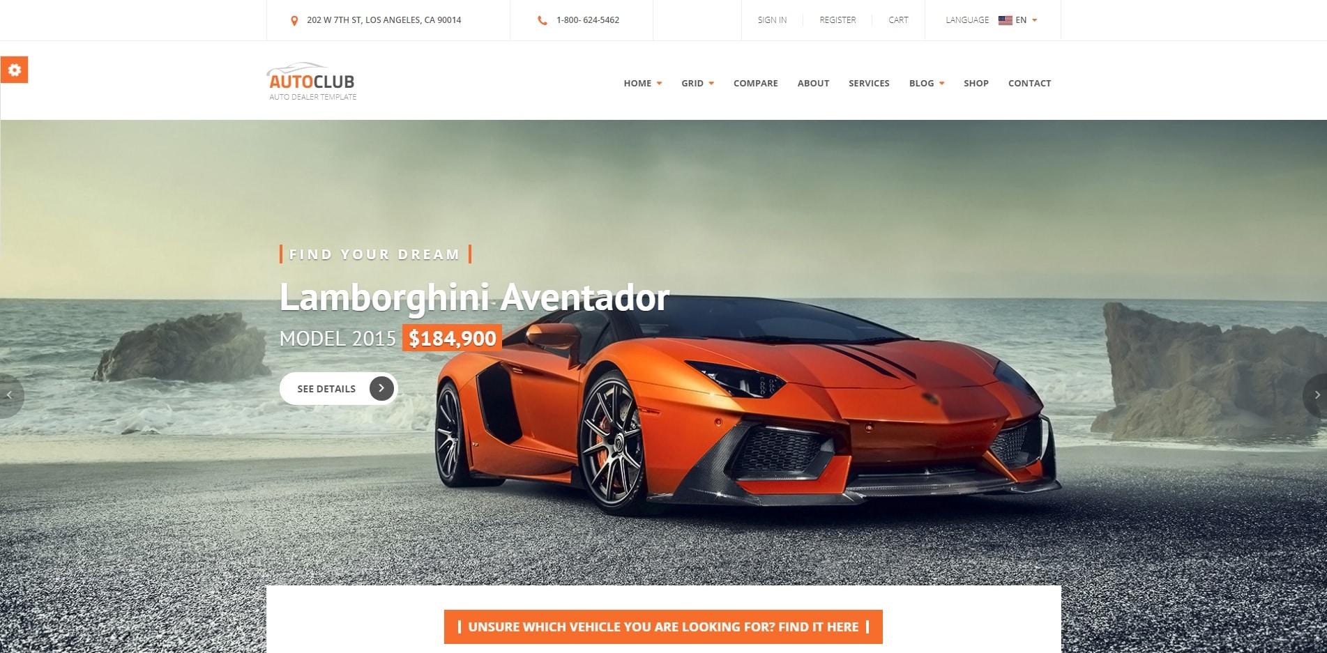 autoclub car dealer website template