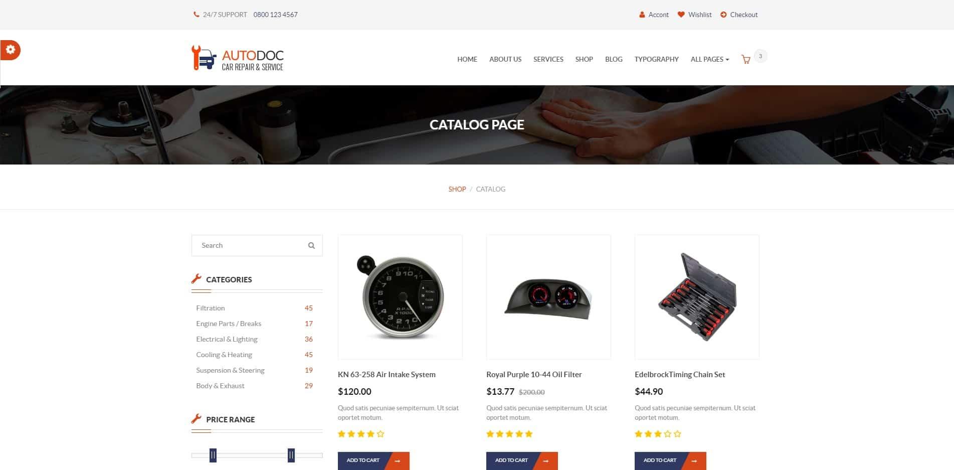 autodoc car dealer website template