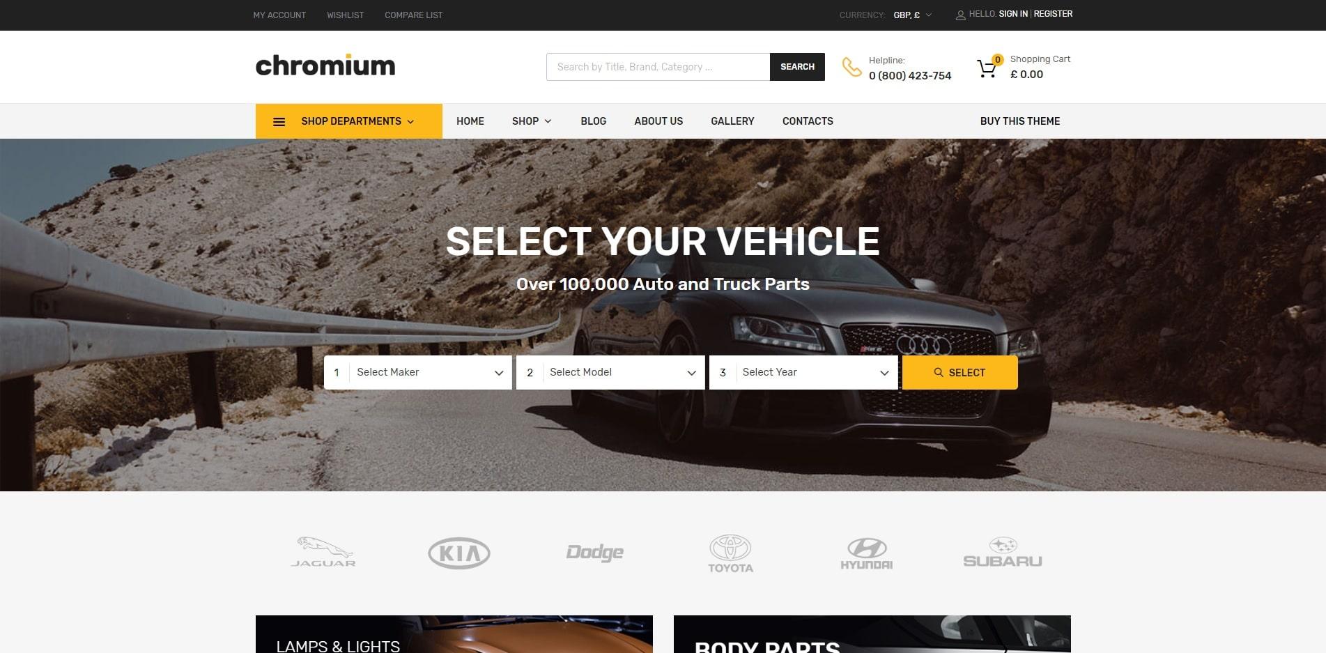 chromuim car dealer website template