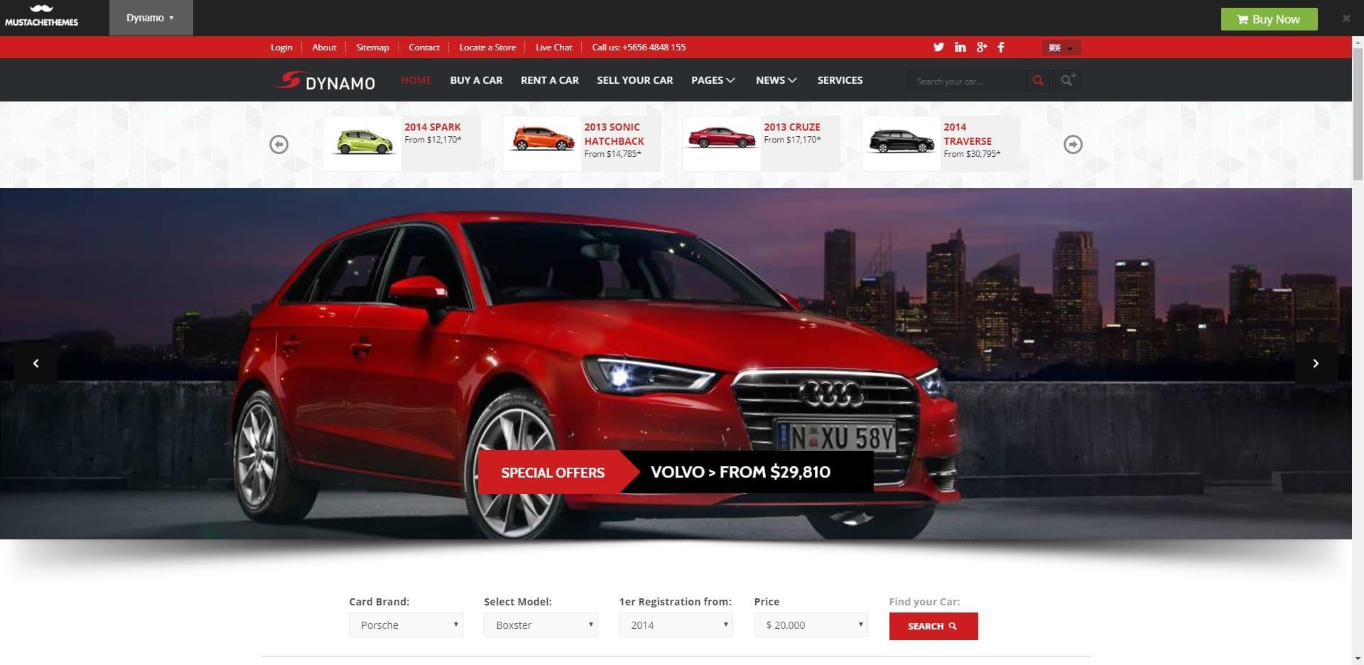 dynamo car dealer website template
