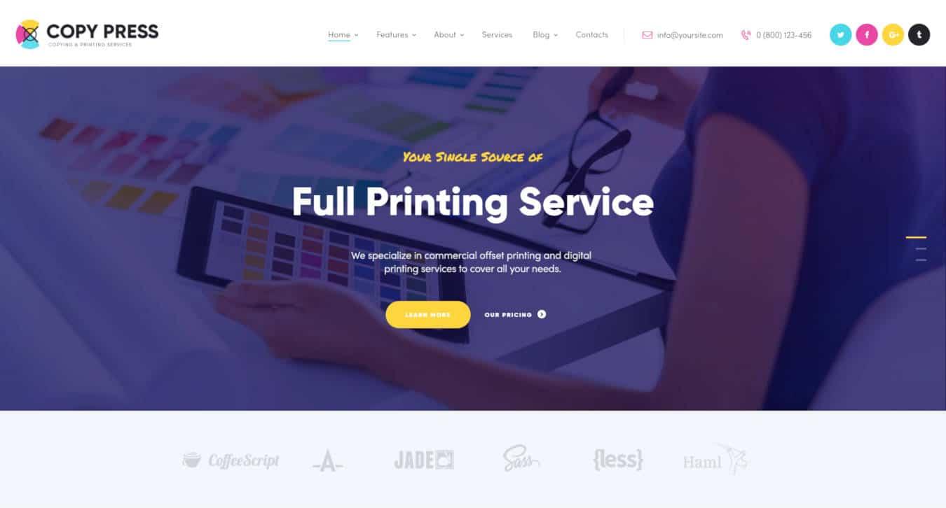 graphic design website templates copypress