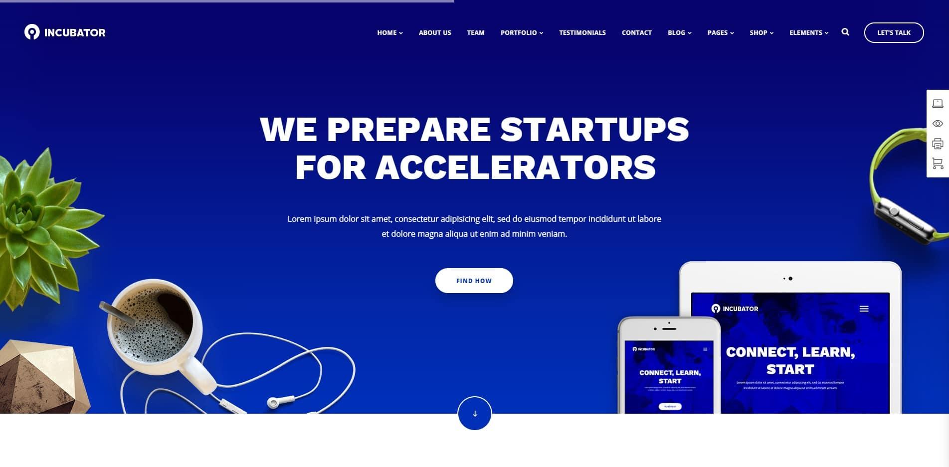incubator technology website template