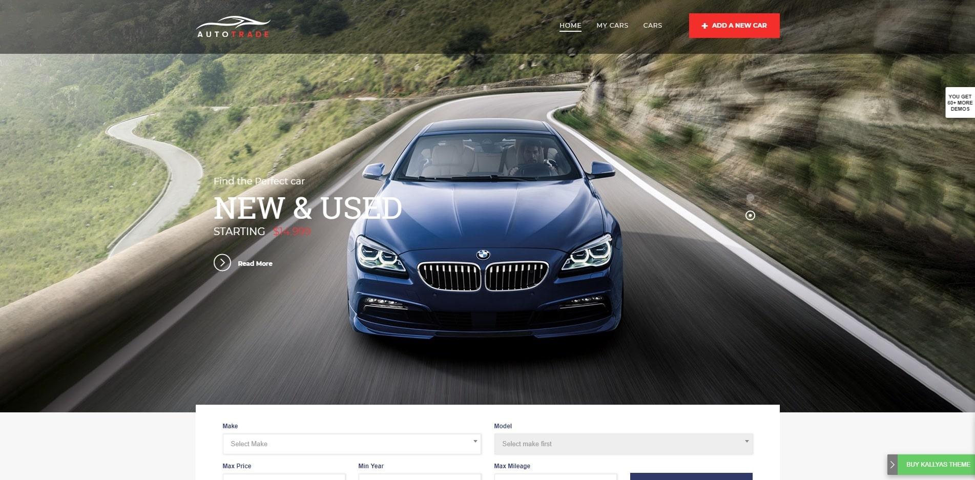 kallyas car dealer website template