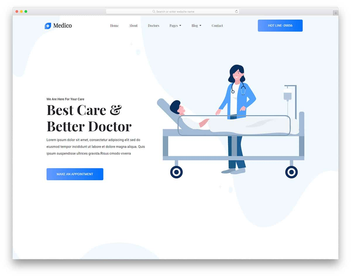 trendy looking free doctor website templates