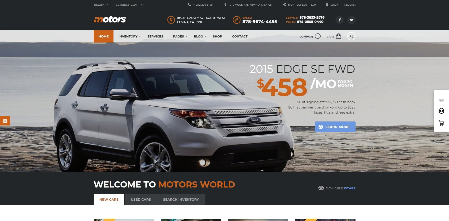 motors car dealer website template