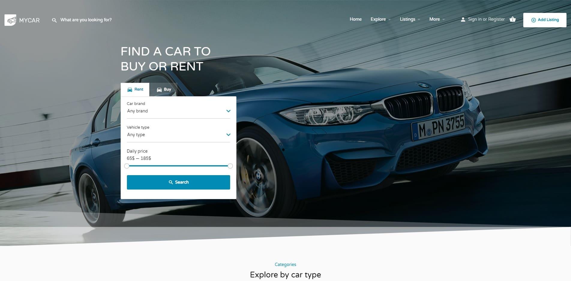 my listing car dealer website template