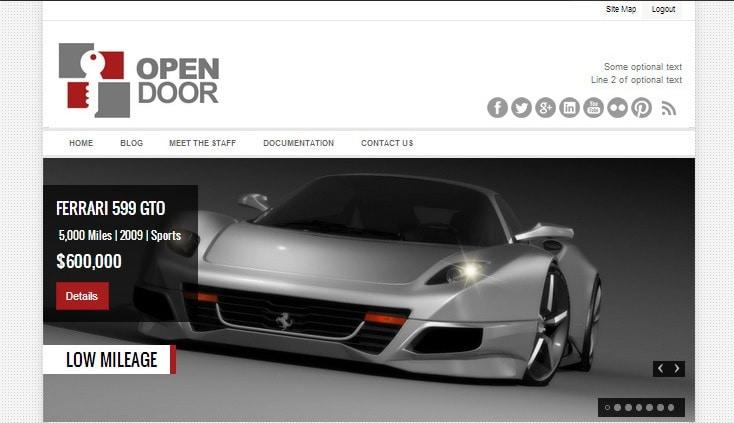 open door car dealer website template