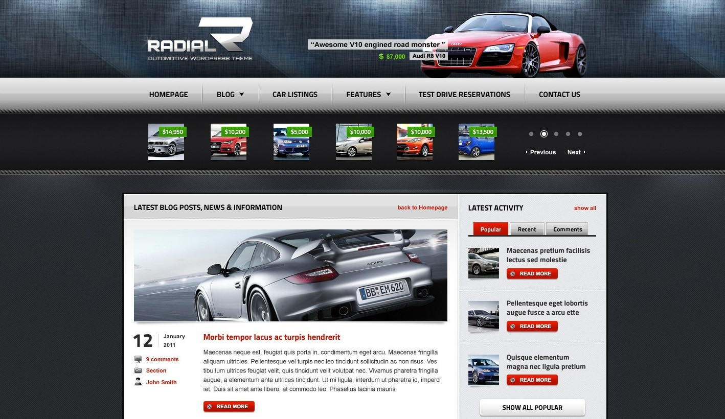 radial car dealer website template