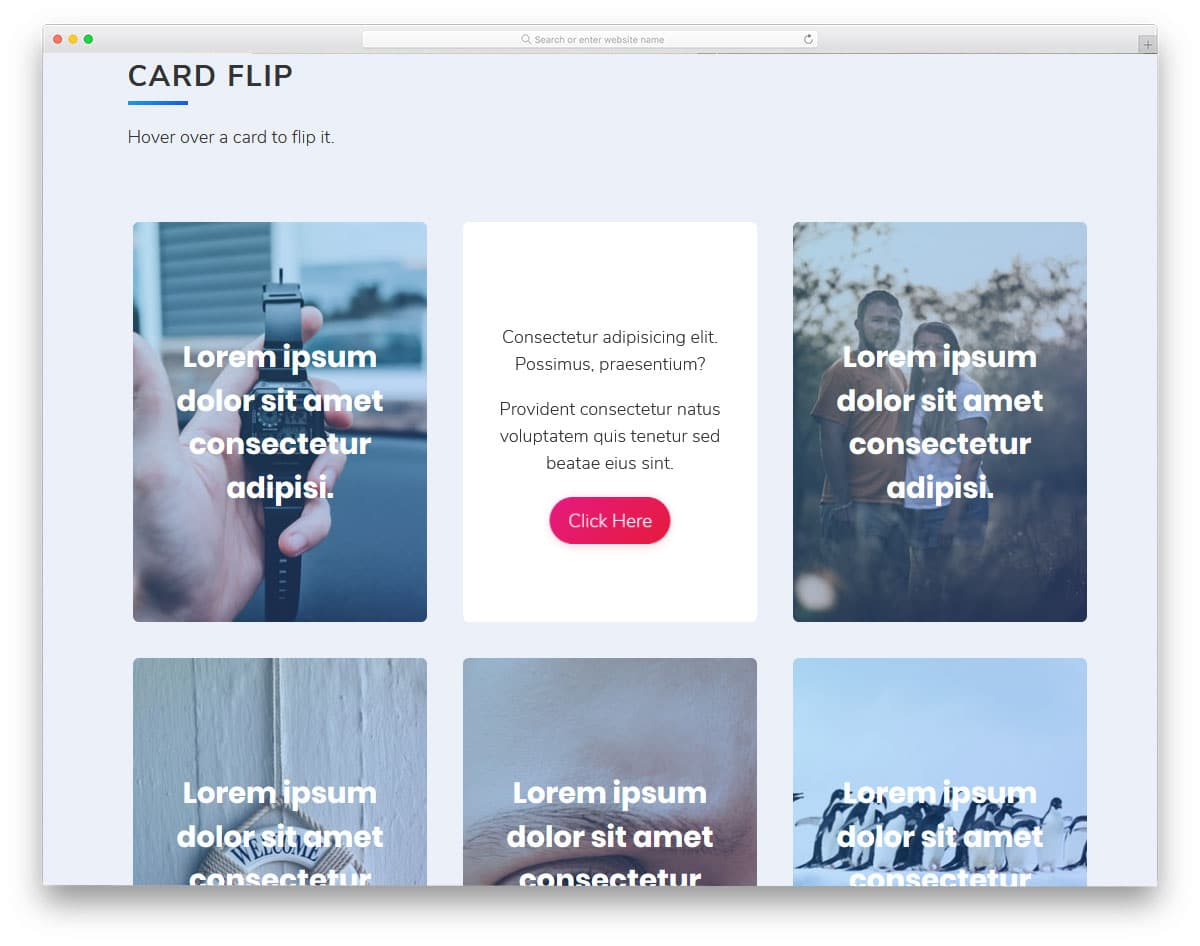 card with parallax flip animation