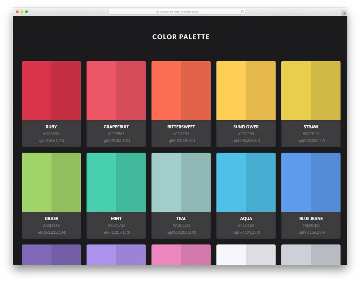 color palette with colors and shades