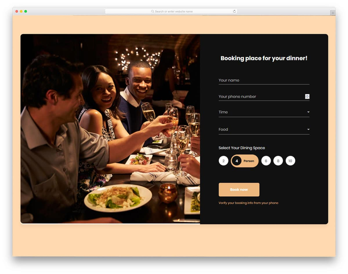 registration form example for restaurants