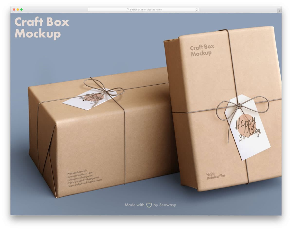 giftbox mockup with craft paper