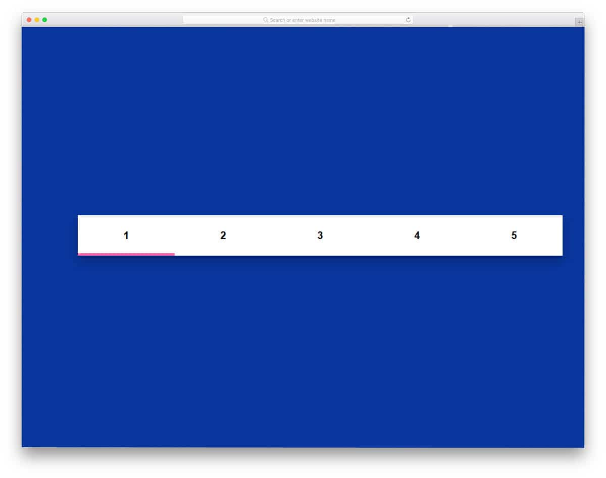 pagination design with line indicator