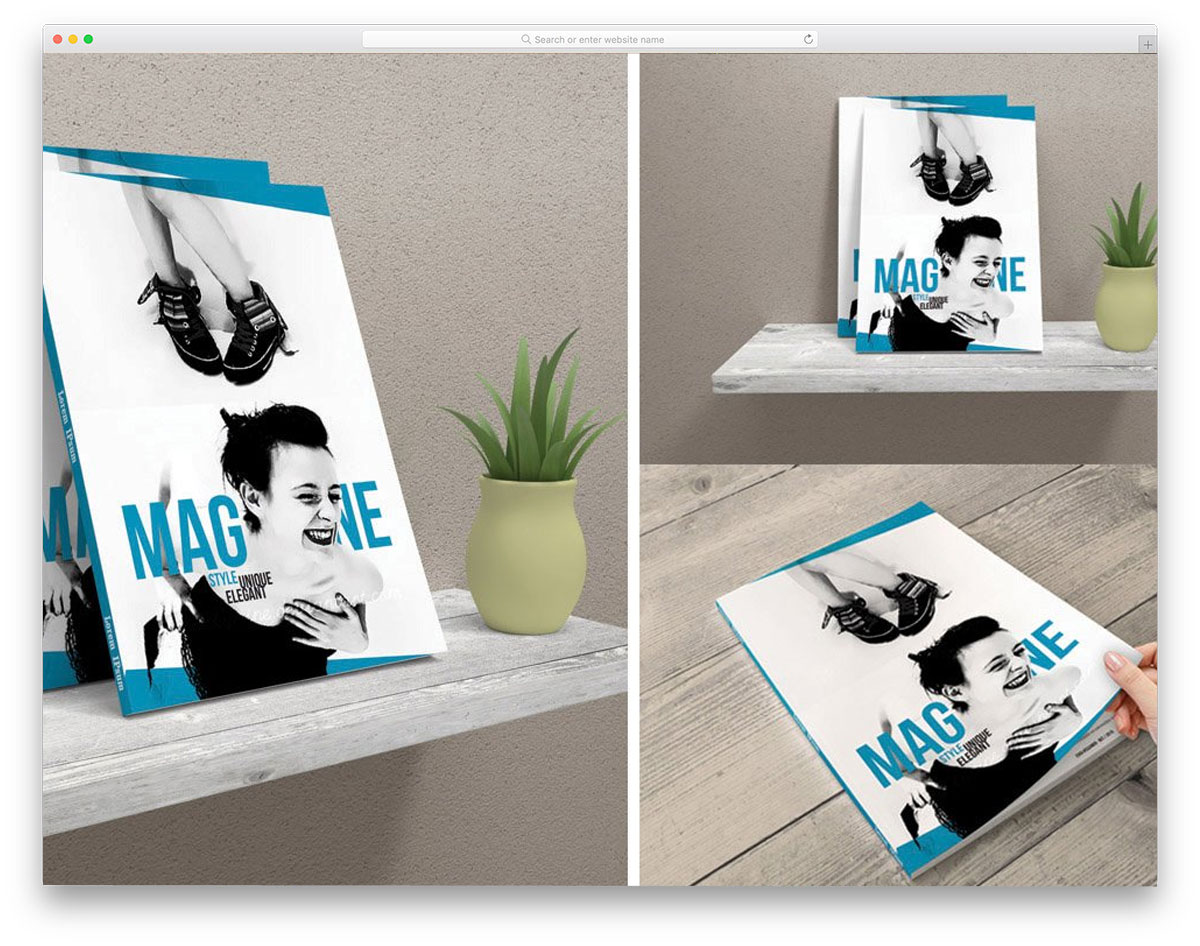 magazine mockups with hand turning pages