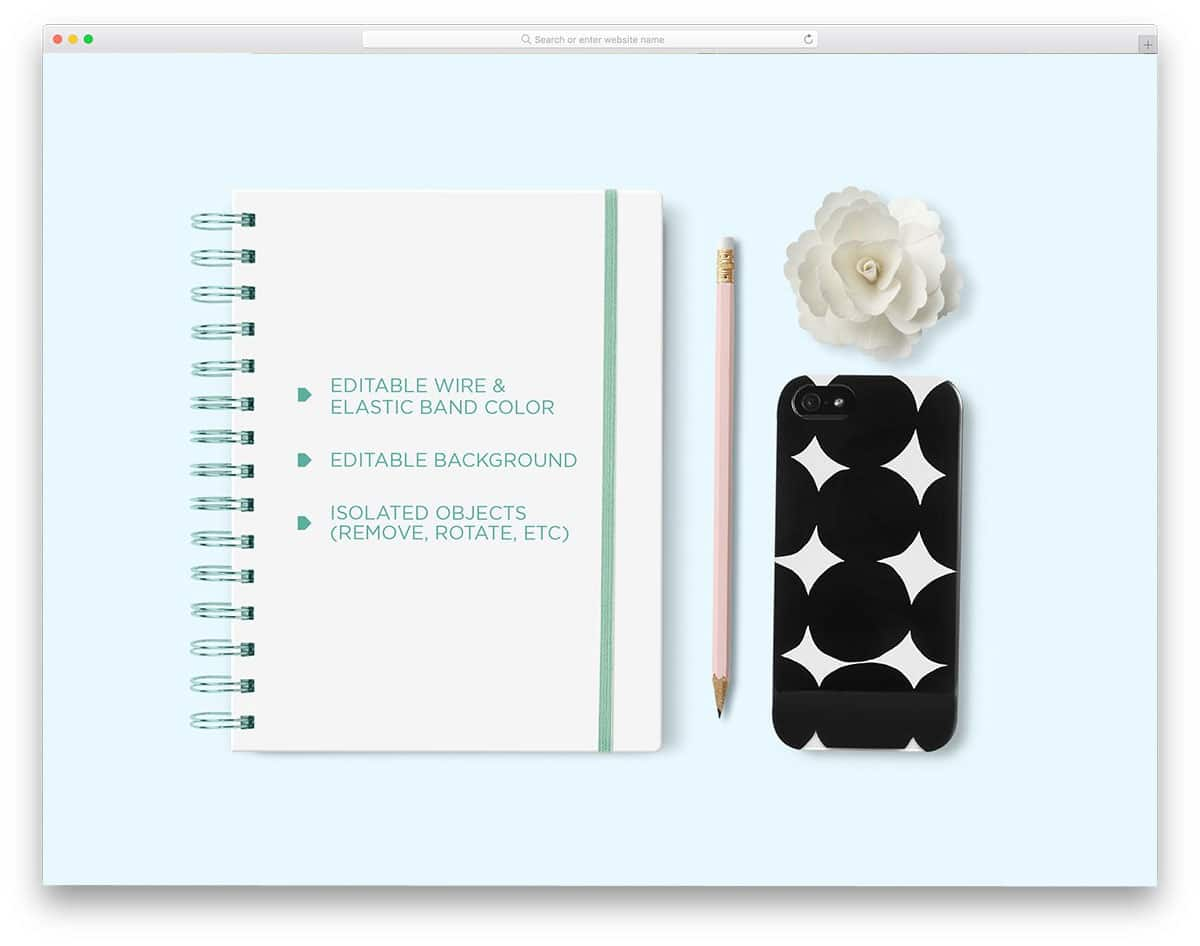 spiral notebook mockup with movable elements