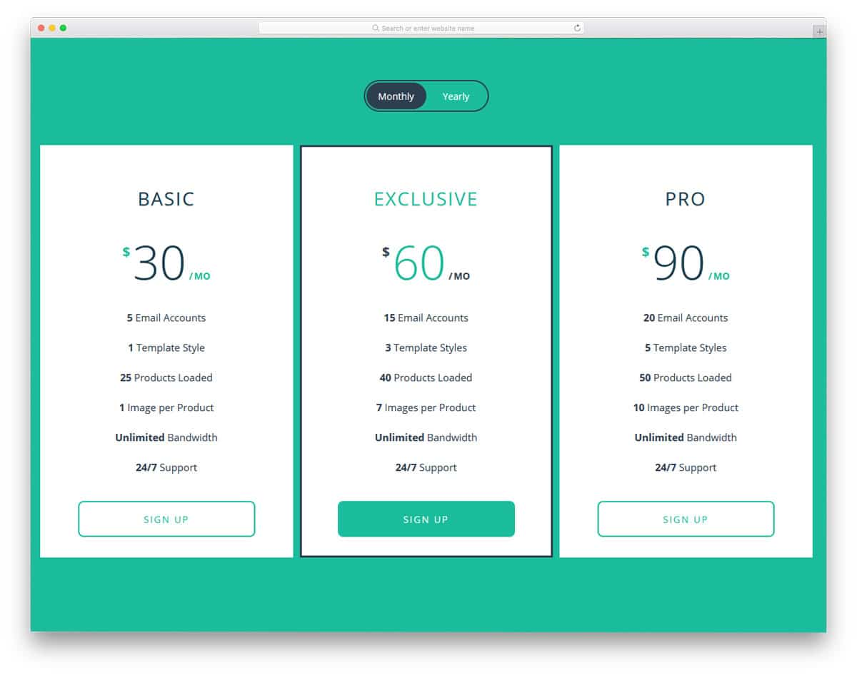 pricing table with card flip animation