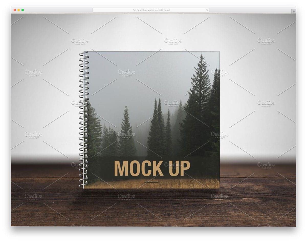 spiral notebook mockup for showcasing cover design