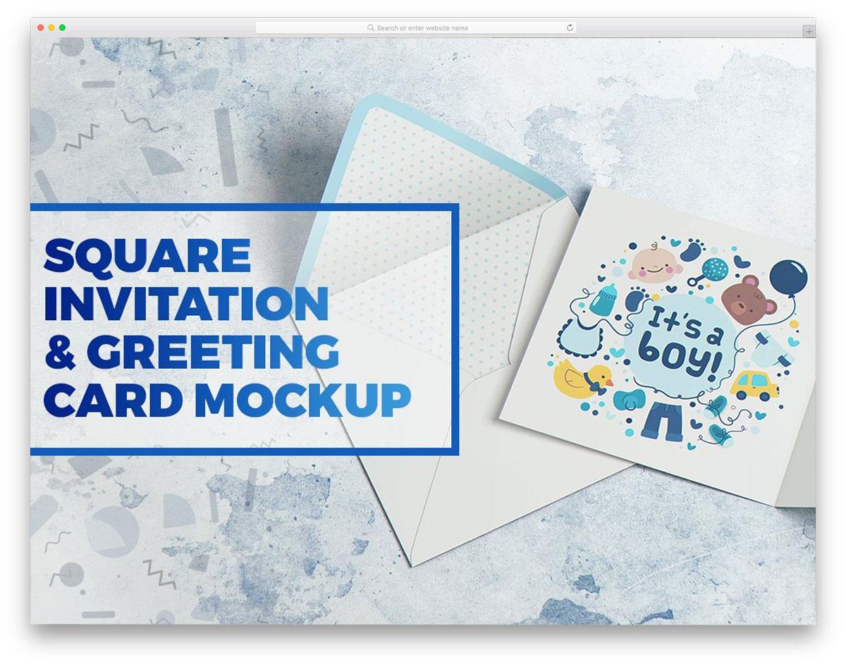 sqaure size invitation mockup