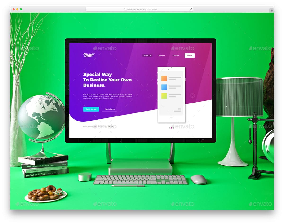colorful creative office computer mockup