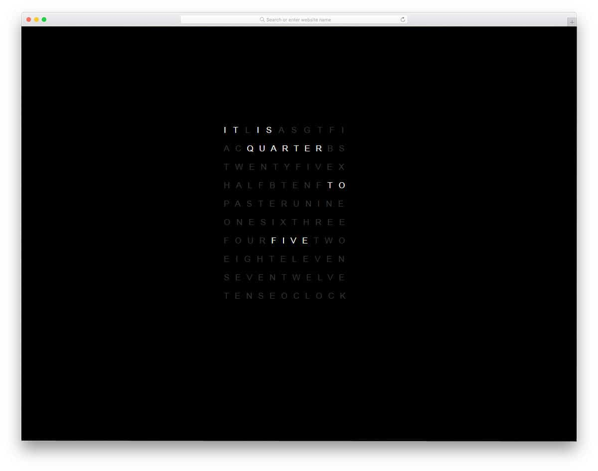 unique text clock design