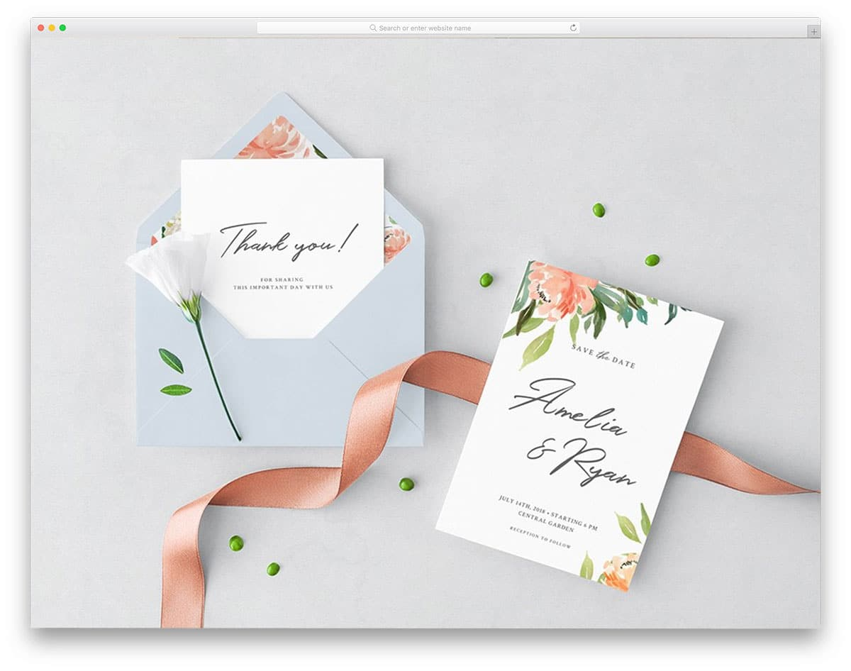 wedding card and envelope mockup set