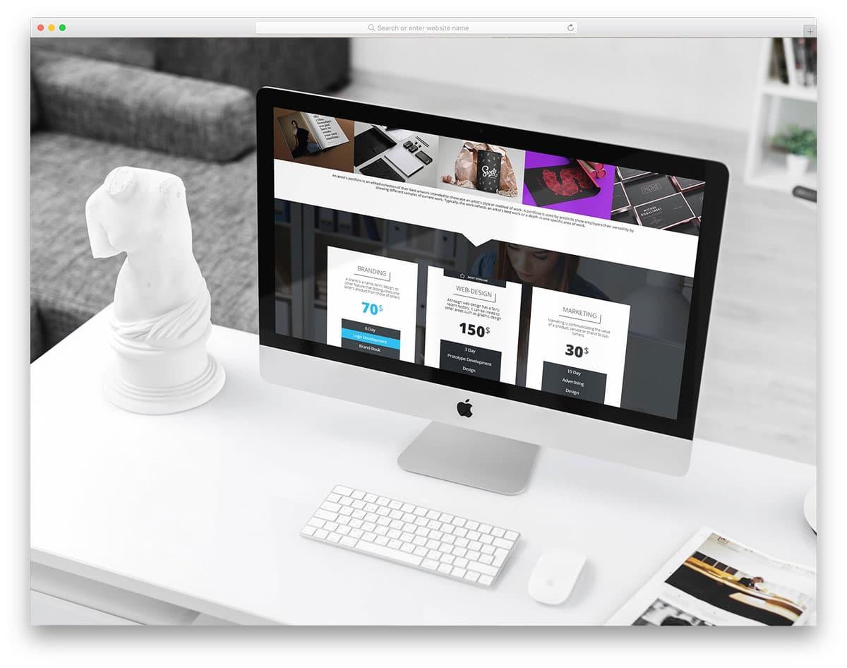 iMac in clean and minimal workspace iMac mockup
